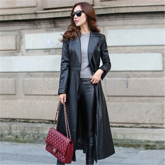 cf46d95570c Women Leather Trench Coats With Bow Tie Waist Ladies long Faux Leather  Jacket Female Autumn Winter Overcoats Windbreaker Outfit