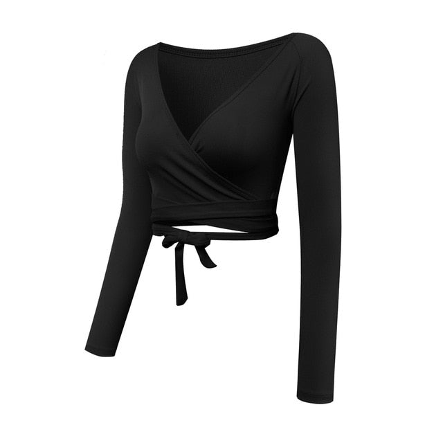 787eae6d37c4b Women Long Sleeve Wrap Yoga Crop Top Dance Lavender Workout Shirts Fitness T -Shirt Breathable Running Tops 2018