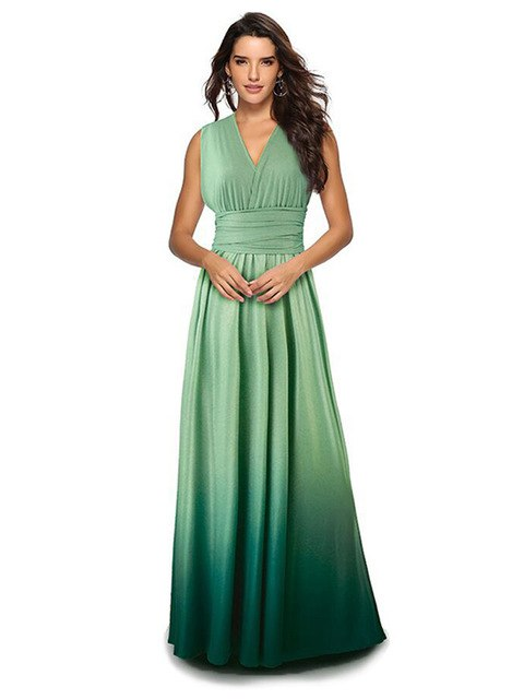 f18f298431 Women Multiway Wrap Long Dress Gradient Convertible Boho Maxi ...