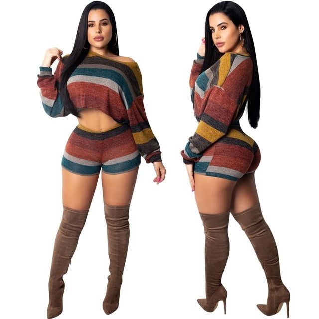 b806447b51 Women Sexy Knitted Two Piece Set Striped Crop Tops Shorts Suits Autumn  Outfits Casual Stripe Sweater 2 Pcs Matching Sets
