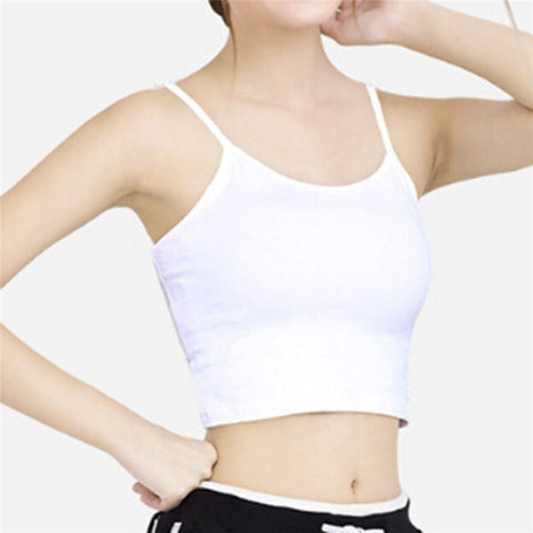 a06368a37d ... Women Summer Sleeveless Straps Tank Top Crop Tops Solid Fitness Lady Camis  Casual White Black Top