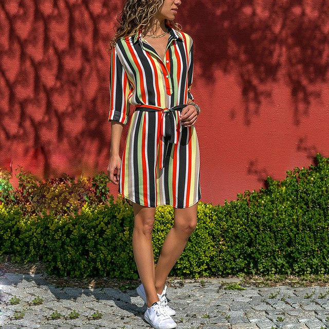 c5d61ad1d7 Women Summer Striped Shirt Dress Ladies Casual Long Sleeve Loose Beach  Dresses 2019 Autumn Print Dress Vestido