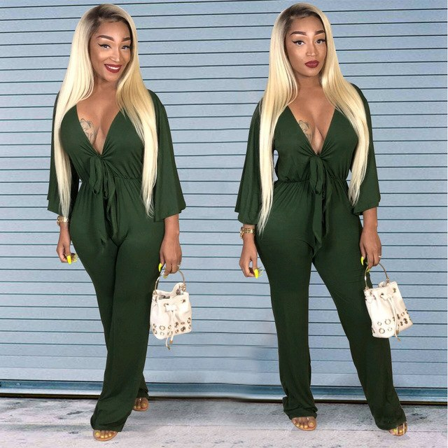 30b8c56e1452eb Women Winter Green Jumpsuits 2018 Long Sleeve Outfits Deep V Cotton Sexy  Club Wear One Piece