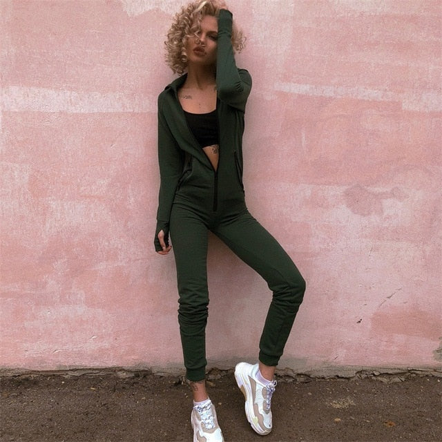 cccc4acdfb32 Women Winter Jumpsuits 2018 Long Sleeve Hooded Outfits Zipper Cotton Sexy  Club Wear Jogging Bandage Bodycon