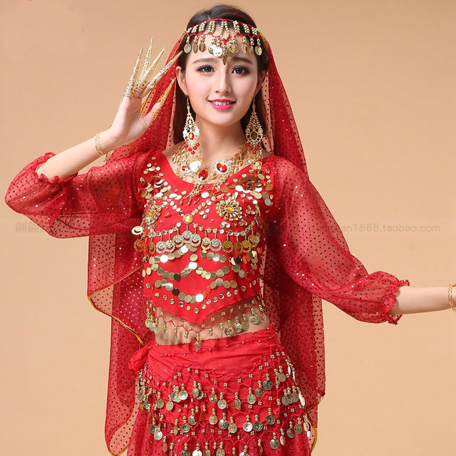 84dbb24d0f66 Women'S Belly Dance Costume Shirt Chiffon Lantern Long Sleeves Gold Coins  Top&Tees Indian Clothing Belly Dancing Tops Top