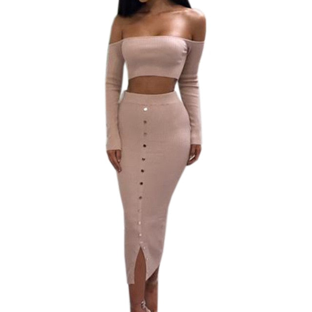 a02b08c2e2 Women's Sets Winter Sexy Bodycon Two Piece Set Crop Top and Pencil Skirt  Outfits Off Shoulder Buttons Skinny Split Knitted GV927