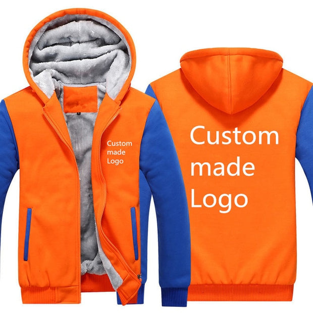 Drop Shipping Usa Size Hoodies, Sweatshirts Custom Made Logo Thick Fleece Zip Up Hooded Jackets Men Plus Size