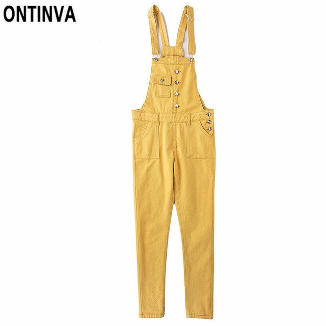 969f7f14d Yellow Denim Jeans Overalls Jumpsuits Summer Women Plus Size Casual  Suspenders 2019 Ladies Full Length Rompers