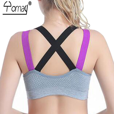 a5c98904ad ... Backless Women Sports Bra Yoga Running Push Up Padded Fitness Top  Adjustable Straps Athletic Vest Sport