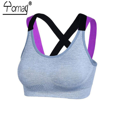 297cf113f3 Backless Women Sports Bra Yoga Running Push Up Padded Fitness Top  Adjustable Straps Athletic Vest Sport ...