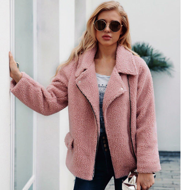 6d60c4364f9 2018 New Faux Lambs Wool Bomber Jacket Plus Size Women Coat Women Teddy  Bear Jacket Pink