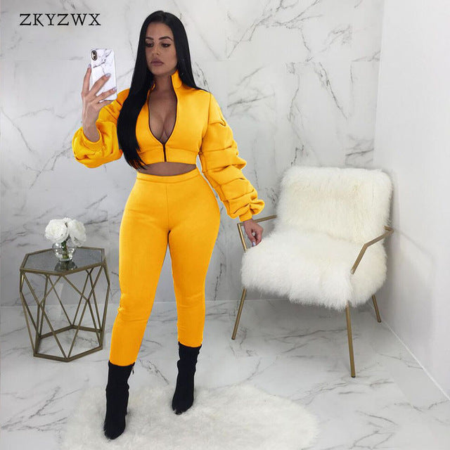 0ea61ef532 Women Two Piece Outfits Autumn Crop Tops+Pants Suit Streetwear Winter High  Elasticity Thick Warm Zip Bodycon 2 Piece Sets