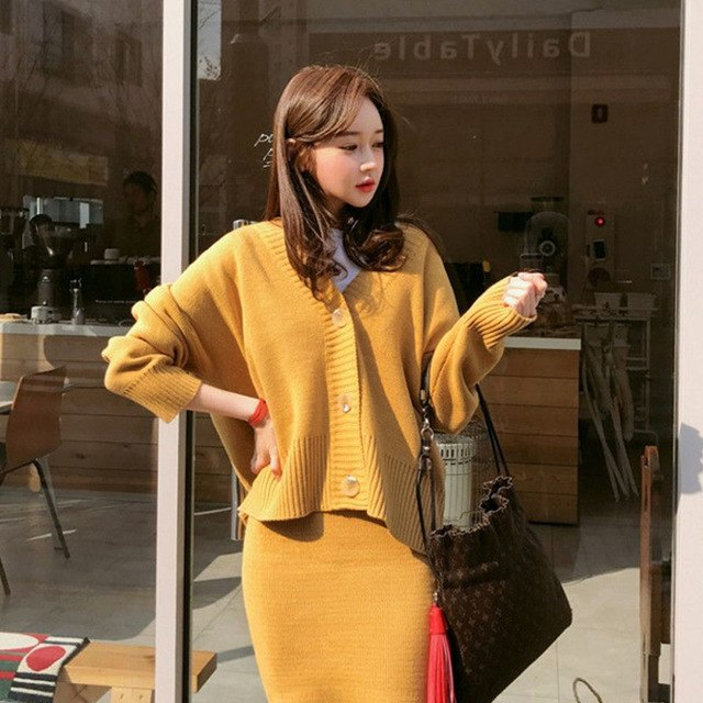 cardigan sweater Short skirt suit two,piece outfit Warm Women Sweater  Autumn Winter Knitted Femme