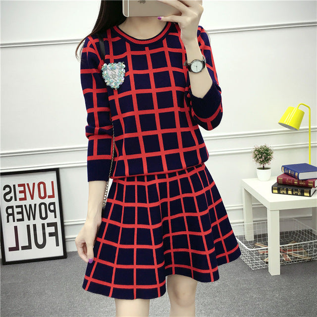 c2747042e28a korean fashion winter two-piece clothing set women pullovers sweater  pleasted skirt plaid pattern suit skirts outfit lady