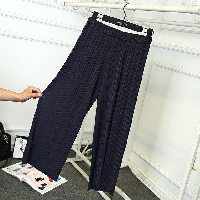 cf5a7a048fd04 Lady Wide Leg Pants Calf Length Summer Pant Black Gray Wine Pleated  Leggings Regular Or Loose Capris