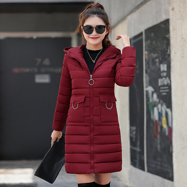 a43deb21 winter jacket 2018 women fashion solid slim fit down jackets thick warm  pockets pompom hooded jacket outwear plus size 3