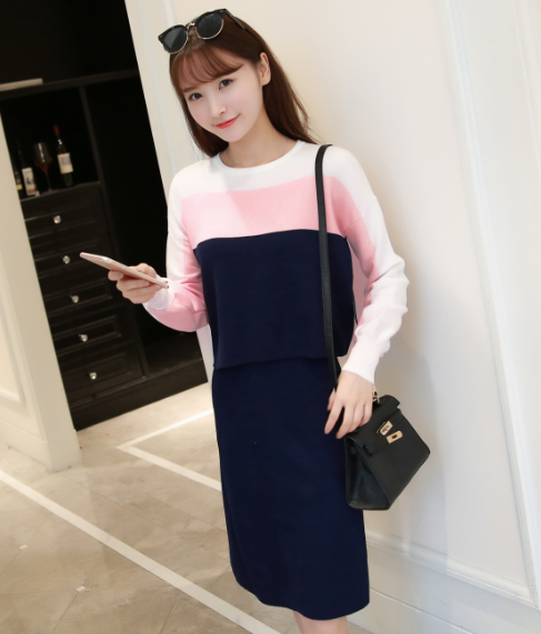 Women Knitwear Fashion Two Pcs Clothing Sweater Skirts Casual Suit