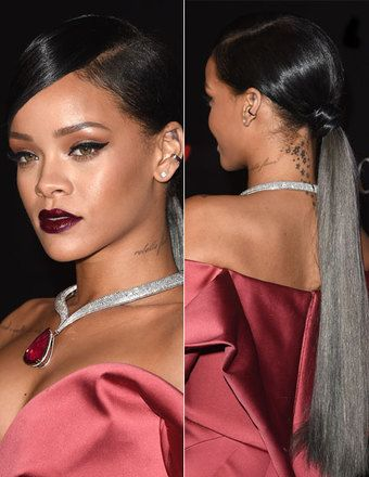 human hair ponytails rihanna low ponytail