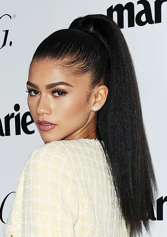 human hair ponytail high ponytail zendaya