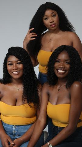 human hair wigs black women smiling
