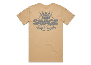 Savage Tee in Beige Silver
