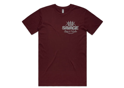 Savage Tee in Burgandy Silver