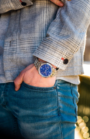 The Chestor Steel/Blue - Steel bracelet