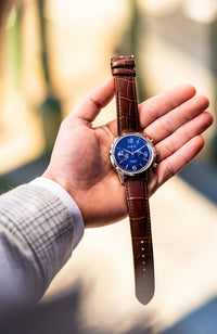 The Chestor Steel/Blue - Brown Leather