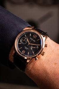 The Chestor Rosegold/Black - Black Leather