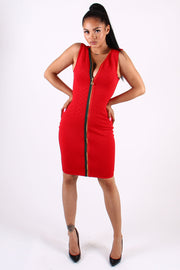 QUILTED DRESS WITH CONTRAST ZIPPER