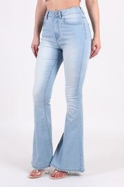 FLARE DENIM PANTS WITH RIPPED BOTTOMS