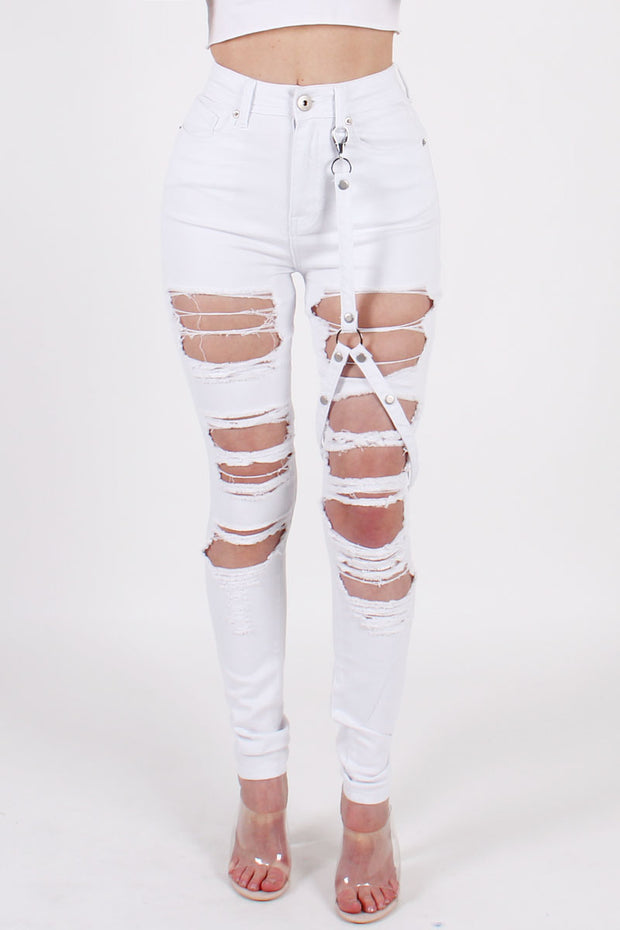 HIGHWAIST DENIM PANTS WITH STRAP