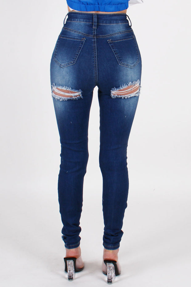 HEAVY RIPPED HIGHWAIST DENIM PANTS