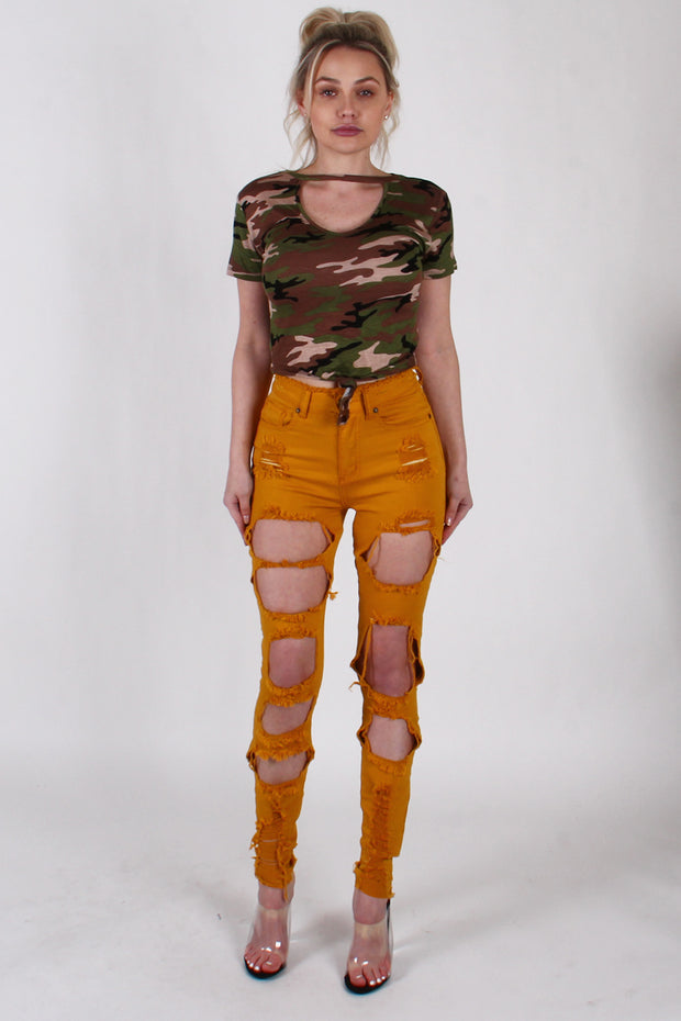 HEAVY RIPPED HIGH WAIST DENIM PANTS