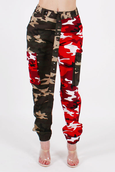 COLORBLOCK CAMO CARGO PANTS