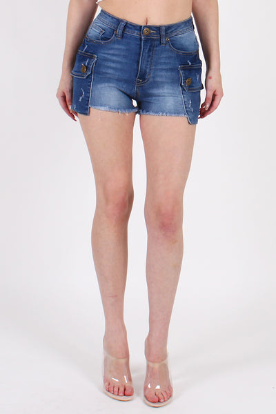 HIGHWAIST DENIM SHORTS WITH CARGO POCKET