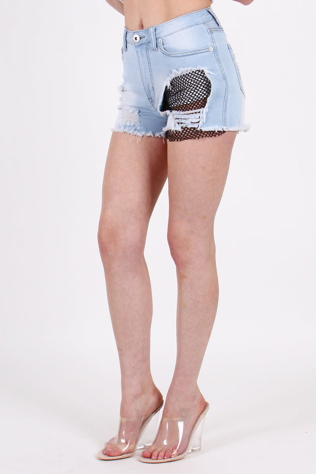 RIPPED DENIM SHORTS WITH MESH TRIM