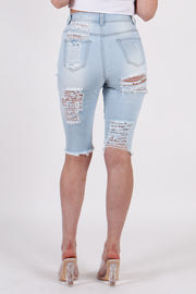 HIGHWAIST HEAVY RIPPED BERMUDA DENIM SHORTS
