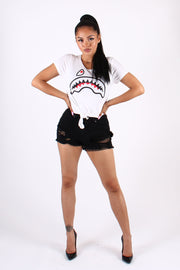 SHARK TEETH GRAPHIC TIE CROP TOP