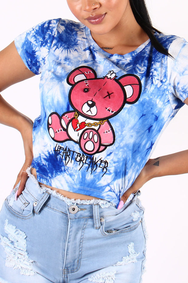 TIE-DYE HEARTBREAKER BEAR CROP TOP