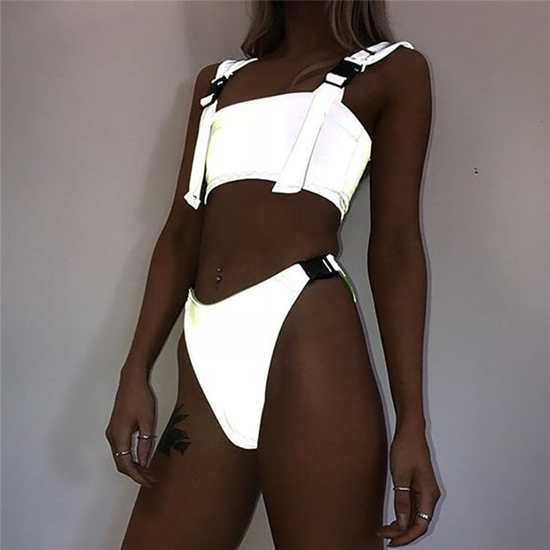 Patchwork Reflective Swimsuit Adjustable Buckle Strap