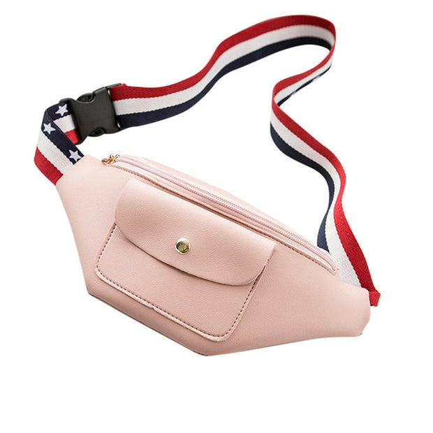 Solid Color Zipper Waist Pack