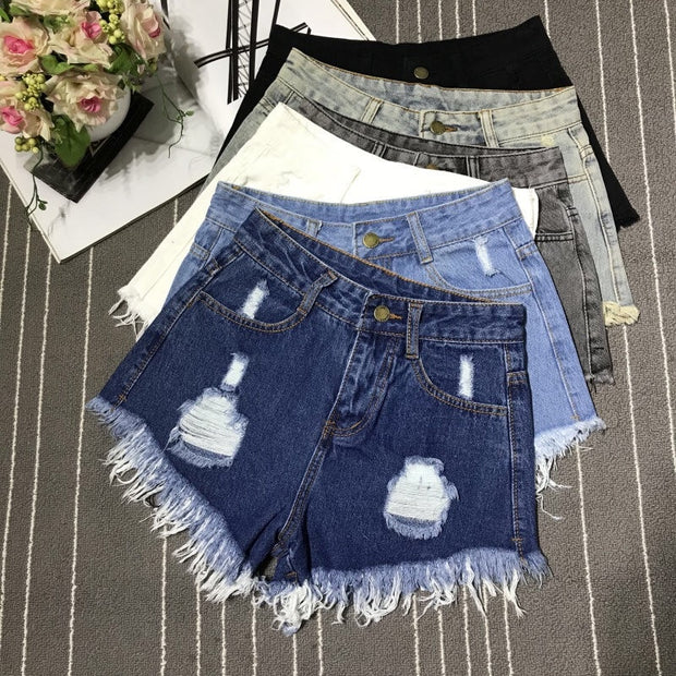 High Waist Ripped Hole Short Jeans