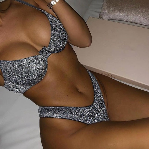 Silver Metallic Reflective Solid Bikini Set