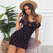 Frill Off Shoulder Tie Floral Beach Dress
