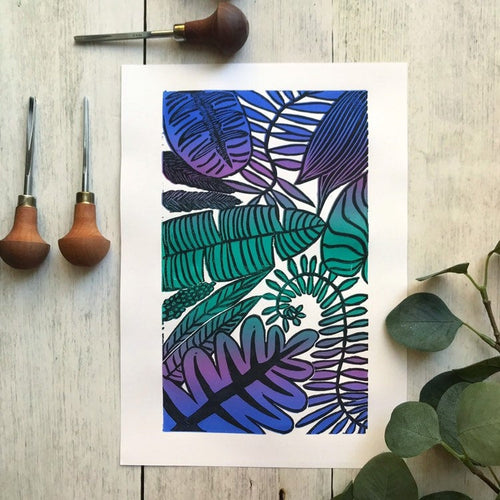 Tropical leaf lino print