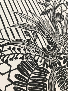 Summer Bouquet Original Lino Print 42 x60cm