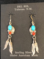 Traditional Turquoise and coral sterling silver earrings with feather, Navajo