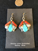 Native American handcrafted sterling silver earrings, Genuine Turquoise and coral.