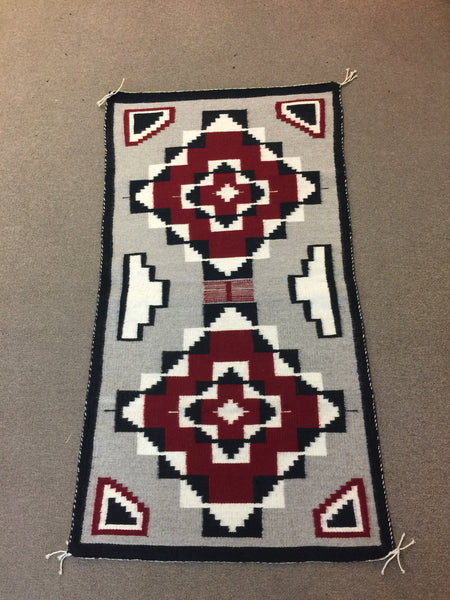 "Vintage double diamond Ganado Navajo Handwoven Rug approximately 27""x49"""